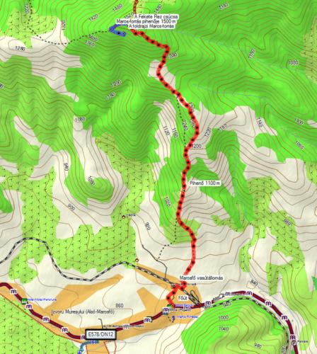 Harta traseului către izvorul geografic al Mureșului